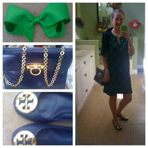 OOTD for church:  #escapada #bowmania #Ferragamo #Revas #pearls #navy #green #transitionwardrobe #jcrewjackie #Sunday #church (Taken with Instagram)