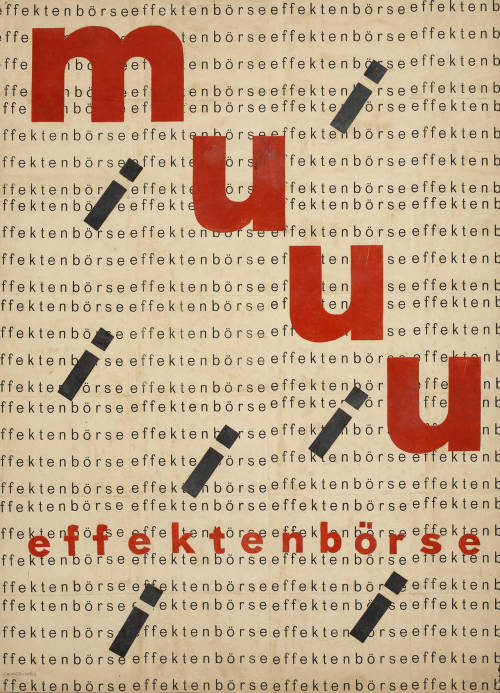 Design for poster for Muuu Effektenbörse (Stock Exchange), 1927-28by Erich Comeriner (German, active ca. 1920-1930). Via.