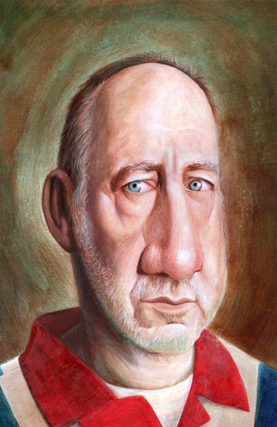 Pete Townshend of 'The Who'.  Behind Blue Eyes. Mixed Media ©Brian DeYoung Illustration