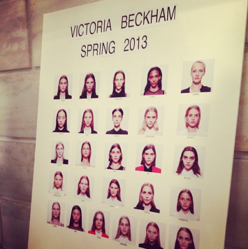 Model board backstage at Victoria Beckham Photographed by Noel Duan