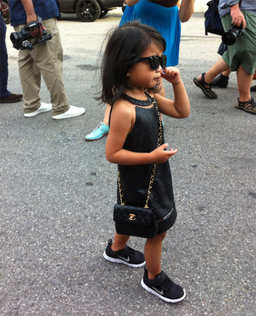 "ne-uw:  funnked:  ""NEW YORK'S NEXT FASHIONISTA - Now three years old, Alexander Wang's niece Aila Wang has progressed from leather pinafore dresses, to the halterneck version, which she accessorised with Wintour-esque shades and a black Chanel bag. Oh Suri, you have much to learn.""   Shit yeah nigs  Wouldn't be mad if this was my future child"