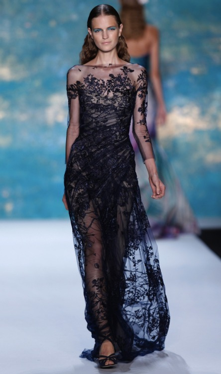 Love this midnight blue lace evening gown from Monique Lhuillier at #mbfw. Red carpet-ready or what. #nyfw