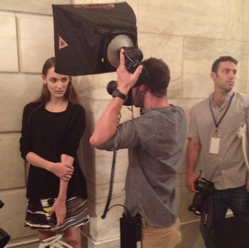 Model Zuzannah being snapped backstage at Victoria Beckham Photographed by Noel Duan
