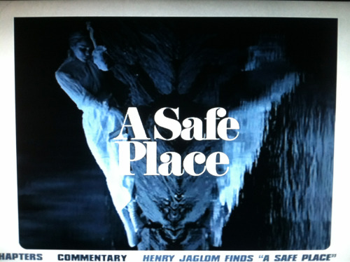 Late night viewing: Henry Jaglom's A Safe Place, from Criterion's BBS boxset.  I've started this weird Saturday habit of falling asleep early after dinner, and then waking up refreshed at midnight or so, and picking a movie to watch in headphones in the dark. Last week was Jack Nicholson's sole directorial outing (Drive, He Said), this week I picked the other obscure film from the BBS boxset, Henry Jaglom's A Safe Place.   This was a pretty ambitious film, in terms of trying to organize the narrative along emotional lines rather than chronologically, and was largely successful. I am going to throw up a few screenshots, I liked lots of frames from A Safe Place, particularly all the bits featuring Orson Welles as a hobo magician in Central Park.