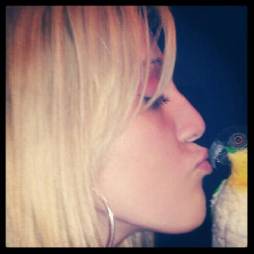 Me and my baby. He will be missed. Rip morty 09/07/12 #caique #parrot  (Taken with Instagram)