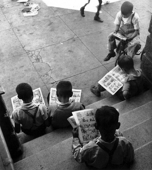 "Have an enlightening weekend!  Photo: John Gutmann, ""Kids Reading Comics, San Francisco, 1938"""