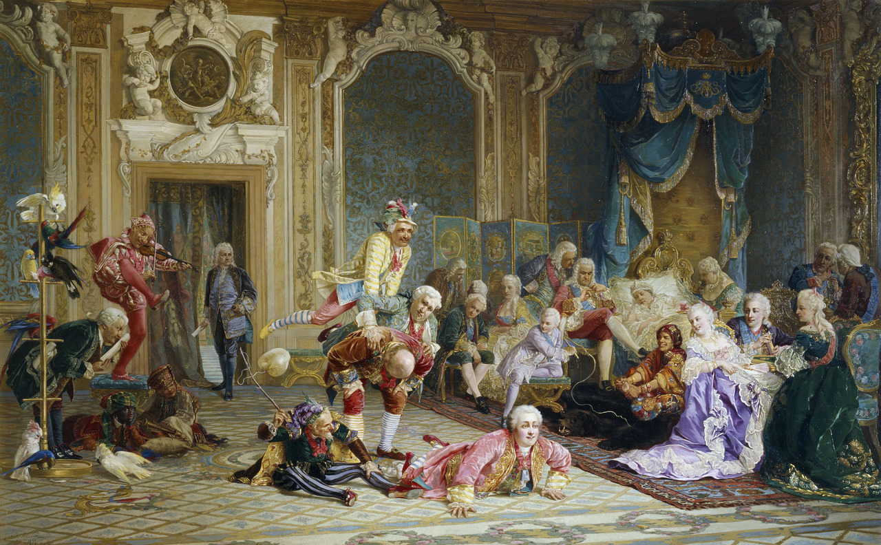 Another depiction of the frivolities in the court of Empress Anna of Russia. (An 1872 painting by Valery Jacobi).