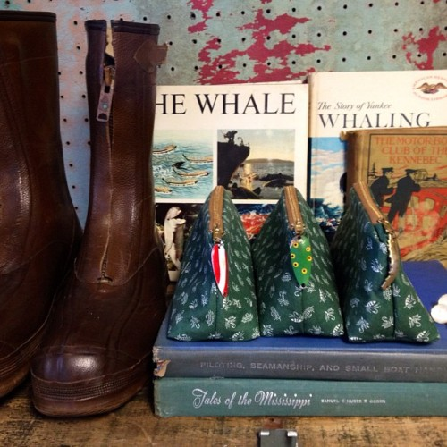 Photographing today: #vintage #nautical #books , #fishing boots, #handmade zip pouches.  (Taken with Instagram at SquidWhale Designs HQ)