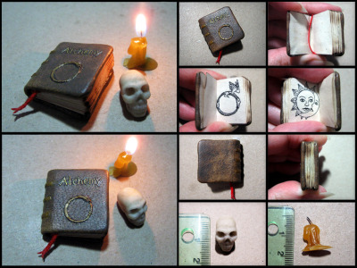 "fuckyeahbookarts:  Miniature Alchemy Book (by Maylar)  It took me some time to make this saddle stitch bound book…it measures 2 cm x 2.5 cm with 36 pages including endpapers. There is an alchemical symbol/sigil on every page, including it's meaning/name in English above it. Pages are made of paper dyed in Earl Grey tea, to give them special coloration, and carefully made ""dirty"" so the book would looked used. Covers are real leather ,and had to be carefully prepared and  given the same look of age/usage as the inner book has …numerous use of alcohol, mineral oil, turpentine and acrylics to accomplish this, but I'm pretty satisfied with result. After that, I did the gilding. Finally, the book was burned a bit (using ember, rather than open fire and even like that it had to be done very, very carefully, avoiding any real damage!)"