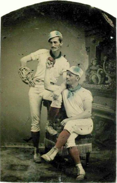 ca. 1875, [hand colored tintype portrait of two dandy baseball players]  via the International Center of Photography
