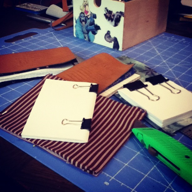 idontknowart:  Making some blank books with faux leather covers today :-) #crafty (Taken with Instagram)