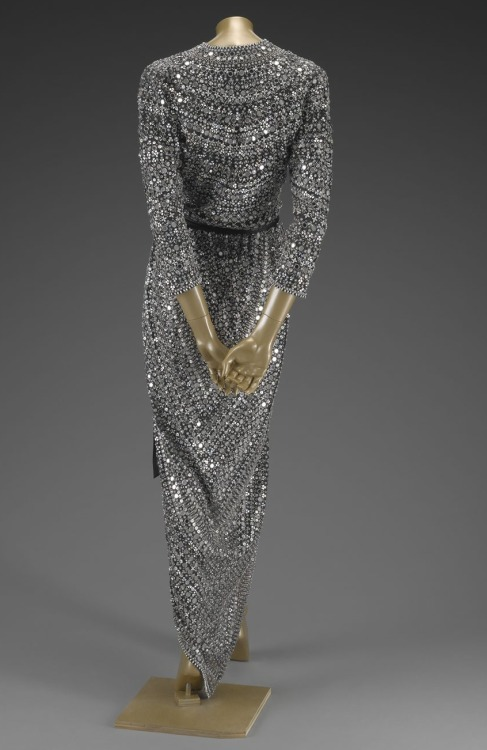 Mirrored and embroidered wrap dress, Halston fall 1981 Ready to Wear.