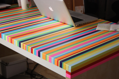 bodisatvah:  DIY washi taped work table. (via Elise Blaha)