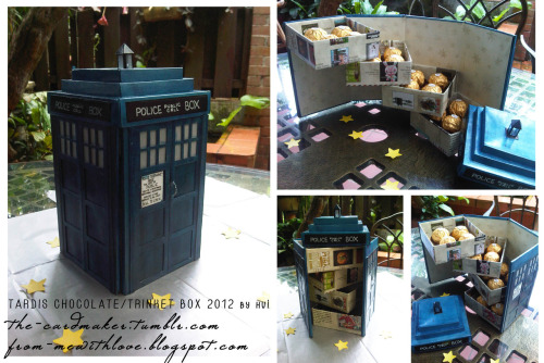 the-suigeneris:   TARDIS Chocolate/Trinket Box  A gift for a Whovian friend, made from 80% recycled paper materials (cardboard, cereal cartons, catalogue papers, etc.), inspired by another photo making its way around the internet, of an adorable TARDIS chocolate box by Michelle Quinn here.  The walls are made from four pieces of rectangular cardboard, held together by sturdy cardstock wrapped around them and painted dark blue. The boxes (including the three stacked squares making up the roof) are stiff cardstock folded into origami boxes and glued together where appropriate. The little light at the top was made using a stiff plastic sheet, cut to shape, scored and folded before adding the roof and gluing it all in place. I added the little details as well, like the 'POLICE BOX' labels and the notice outside the door (all handwritten), and the tiny door handle made using thin, twisted wires. The whole thing was then given a few coats of varnish to seal in the paint and give it a smooth appearance.    This is just all levels of awesome would love to see an DIY for it though!