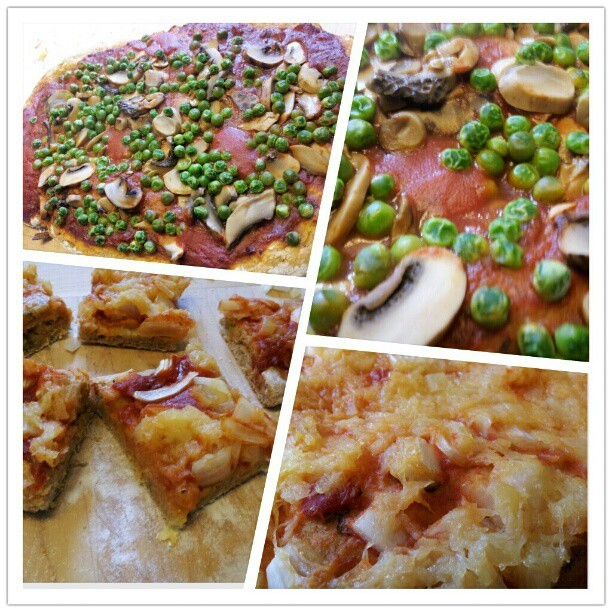 #homemade #vegan #pizza with #basil infused crust. Top is mushrooms and peas, bottom is onions and pineapple. #delicious #veganpizza #whatveganseat (Taken with Instagram)