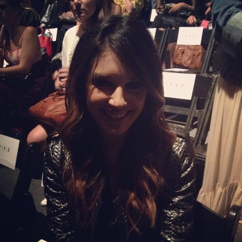 Shenae Grimes front row at Tracy Reese in metallic Isabel Marant Photographed by Julia Rubin