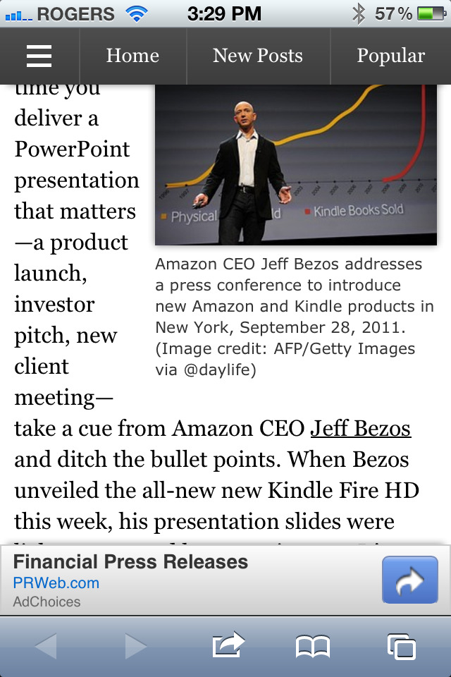 Forbes mobile site looses ~30% of vertical space to chrome + ads.  Prioritizing your needs over the viewers is not good #ux.