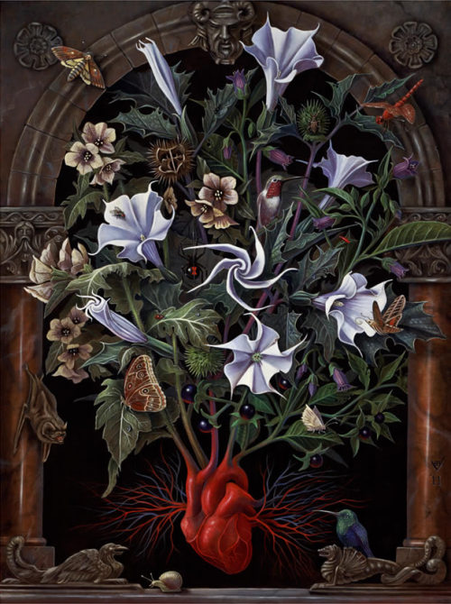 Sacred Heart, an oil and egg-tempera painting by contemporary esoteric artist Benjamin Vierling, appears on the dust jacket of the standard edition of our newest title Veneficium: Magic, Witchcraft, and the Poison Path. The image features the emergence of Belladonna, Henbane and Datura —three plants allied to the Devil and comprising a part of the so-called 'Witches' Garden'— from a human heart.