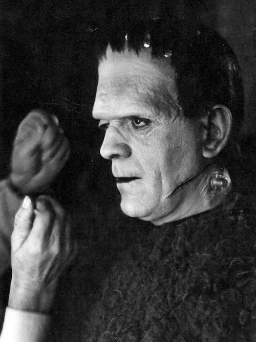 Boris Karloff on the set of Son of Frankenstein (1939)
