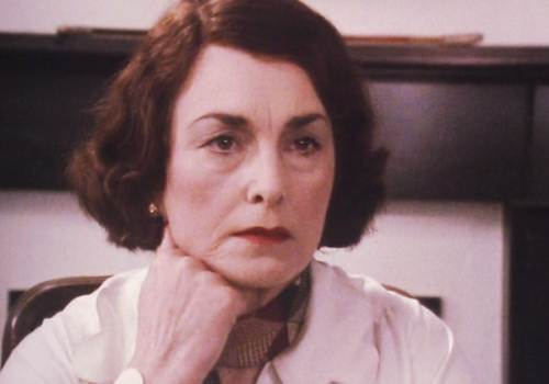 Barbara Jefford (aka House of Eliott's Aunt Lydia) in Campion.  Not being very Aunt Lydia-like.  She's pretty evil and goes round horsewhipping Peter Davison…