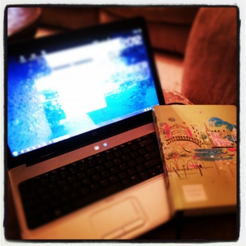 Computer and sketchbook.  My loves <3 (Taken with Instagram)