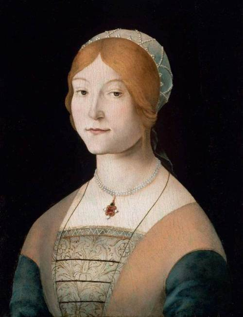 Portrait of a Woman with a Pearl Necklace -Lorenzo Costa ~15th century