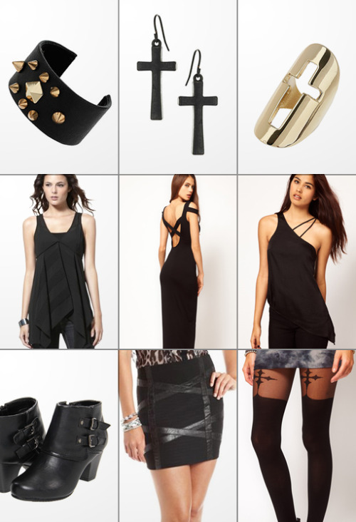 The Haute List :: $25 & Under Studded Cuff :: Cross Drop Earrings :: Cutout Cross Ring Converse Panel Top :: Dress With Cross Back :: Cami With Asymmetric Straps Sam & Libby Boots :: Criss Cross Mini Skirt :: Cross Suspender Tights