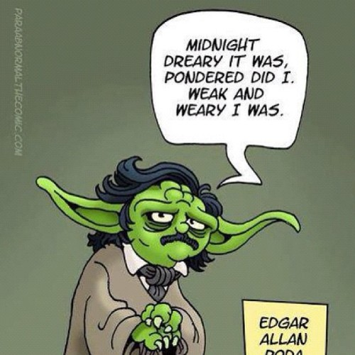 reallee:  Edgar Allan Yoda shares his classic tale - the Raven #yoda #raven #starwars #edgarallanpoe (Taken with Instagram)