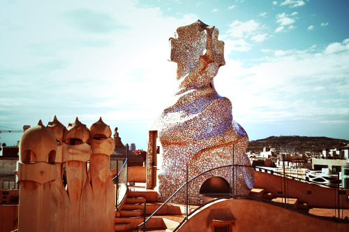 On the rooftop of Casa Milà, built by Antoni  Gaudí.  - Barcelona, Spain.