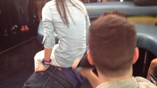 the fan on carlos' back while doing pushups yesterday