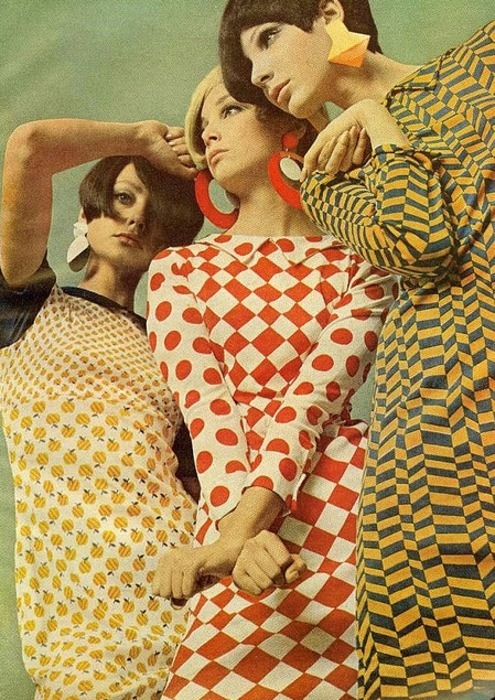Fab apple print dress, Mademoiselle Magazine, May 1966