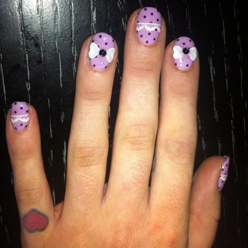 Purple polka dots nails for @kellyosbourne   (Taken with Instagram)