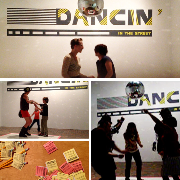 "Dancin' In The Street opened to the public on Friday September 7 at MOCAD. We had the pleasure of presenting our project alongside the current exhibition, Vision in a Cornfield.  The DEPE Space gallery (housed in the back of MOCAD's main exhibition space) is a showcase of our project, ""Dancin' In The Street"" and will evolve over the next week. As we take this project to different neighborhoods in Detroit we will collect video, photos and messages from participants. This documentation will be on display in the gallery for the duration of the residency. A permanent dance floor/message board is set up in the middle of the space in addition to a sound booth, which allows visitors to listen to the original song by Martha and The Vandellas and the remix song by our local musical collaborators, Booker Snow's, Minister Blak & Goodson  Gallery visitors are welcome to interact with the installation at any point.  At the opening, people were invited to dance and leave messages on the dance floor about social change in Detroit. There were a wide variety of contributions. Here are a few messages that were left behind on the dance floor; "" Read to know"", ""Follow your dreams or dream about being followed"", ""Dance is good for the soul"", ""We were givin feet so we should be dancin in the streets!"", ""The rebirth in Detroit is needed"", ""Set out to be you!"" and more. You can see all of them on view at the gallery.  This week we will take our portable dance floor to various neighborhoods and collect more messages/dance moves from the people of Detroit! So, stay tuned and come visit us soon!"