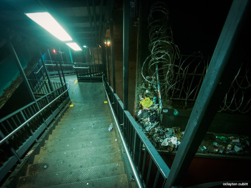 claytoncubitt:  Subway stairs down from the JZ, Brooklyn   (3704)