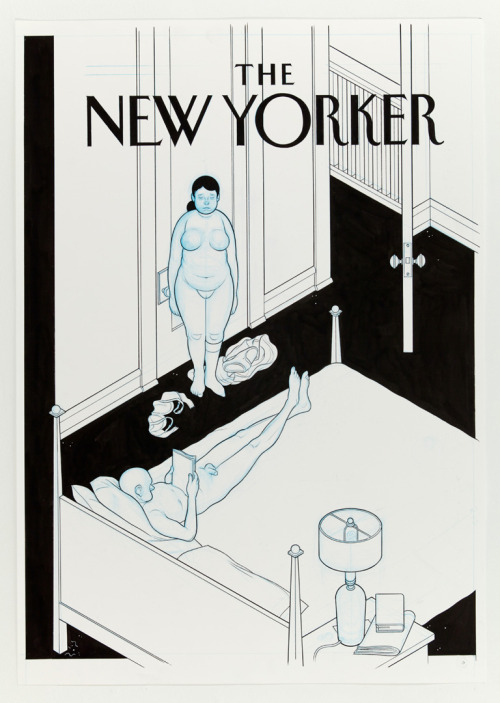 ——comix:  Cover by Chris Ware.  Ladies and gentleman, click the picture.The link leads to Ware's latest gallery show at the Adam Baumgold Gallery. The pictures are pretty large so you can see a bit of his process, which thrills me to no end. Ware is one of the few illustrators and comic folks out there that gives me chills; chills to the point that I have a hard time reading his work. So good, yet so…bleak. I think the faux New Yorker cover above drives that point home, don't you think? By the way, Shit Comix is a total misnomer. That blog brings you snippets of the good stuff from big and small names throughout the comic world.