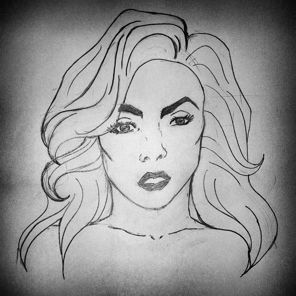 #draw #ladygaga #monster #instaima #instadaily #fotododia #instagold #instagood #instamod #iphone #brazil  (Taken with Instagram)