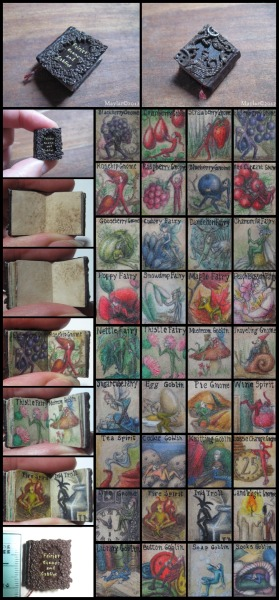 fuckyeahbookarts:  Fairies, Goblins & Gnomes Miniature Book (by Maylar)  Miniature hard cover book, bound by perfect binding. It is 1.8 cm high (0.70 inch) and filled with 36 miniature illustrated pages of fairies, goblins, gnomes, trolls and spirits of nature and household, done in watercolor and pencil on tea-dyed paper. Endpapers are made of same paper, stained to resemble old age.Covers are made of faux leather and polymer clay, front representing nature (with leaves and flowers) and back representing household, with buttons, yarn and similar and a little gnome peeping through it. Letters on front are gilded with gold paint and the attached bookmark is hand-woven.