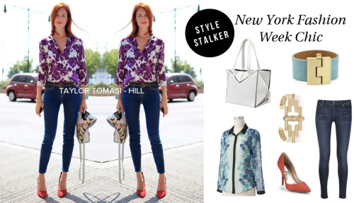 STYLE STALKER — Taylor Tomasi-Hill RAG & BONE Jeans // LEIGHELENA Cuff // PAMELA LOVE Bracelet  RACHEL ROY Pumps // LC Button Up Blouse // OASAP Purse  Photo