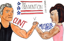 """Clint vs. Michelle"" Editorial Cartoon by Hilly Hess/Staff"