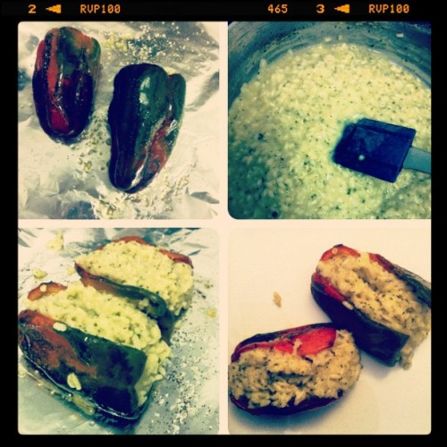 I made risotto-stuffed poblanos.  (Taken with Instagram)