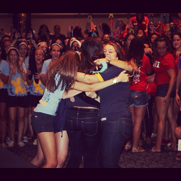 My pledge sisters at Rho Gamma revelation on bid day. Words can not describe the emotions I felt during this moment. I missed her tons and I'm so happy I was able to welcome her back home. Once an Alpha Xi, always an Alpha Xi<3