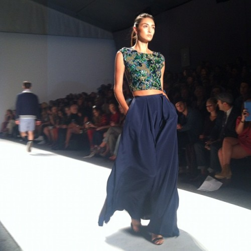 teenvogue:  Love this cropped top and maxi skirt combo at Timo Weiland Photographed by Victoria Lewis