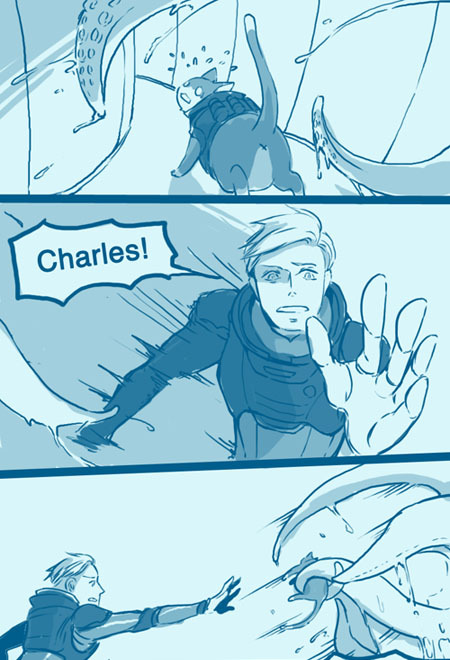 Prometheus David 8 + cat!Charles. The messiest and forever-wip comic strip.  I finally suck it up and finish this in one sitting, just to get it out of my system, thus super messy and bad anatomy and all that. I vaguely remembered someone mentioned something like this (cat!Charles being swallowed by alien and then reborn into human hybrid form?).