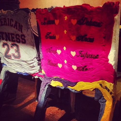 Chairs made from pressed, second-hand clothing (Taken with Instagram at Piola)