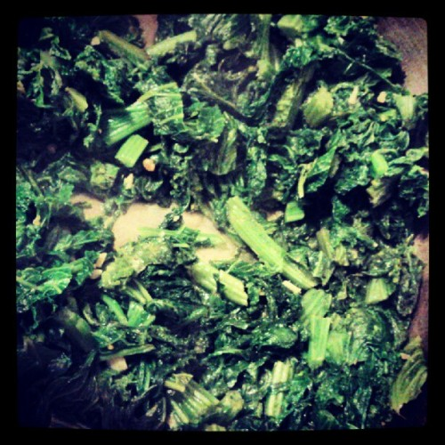 MUSTARD GREENS WITH SAUTEED GARLIC (Taken with Instagram)