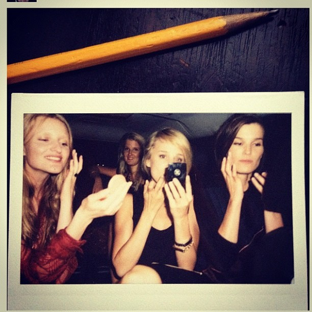 Backseat touch ups with the Scandinavians #nyfw  (Taken with Instagram)