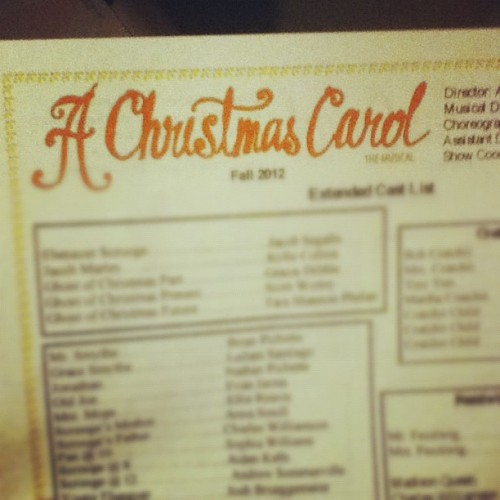 The cast list for A Christmas Carol Musical was just posted! I have four different parts! :D #excited #cyt #christmascarol We play 7 shows in November.  (Taken with Instagram)