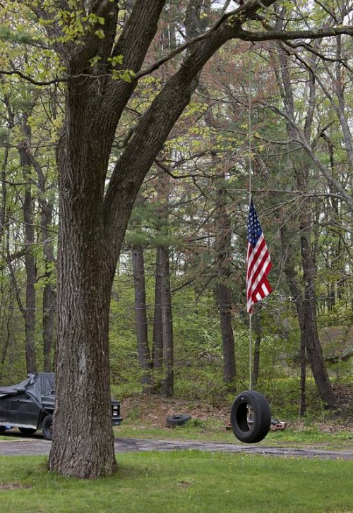 Frank Armstrong, American Flag tied to Rope Swing. #NeverForget