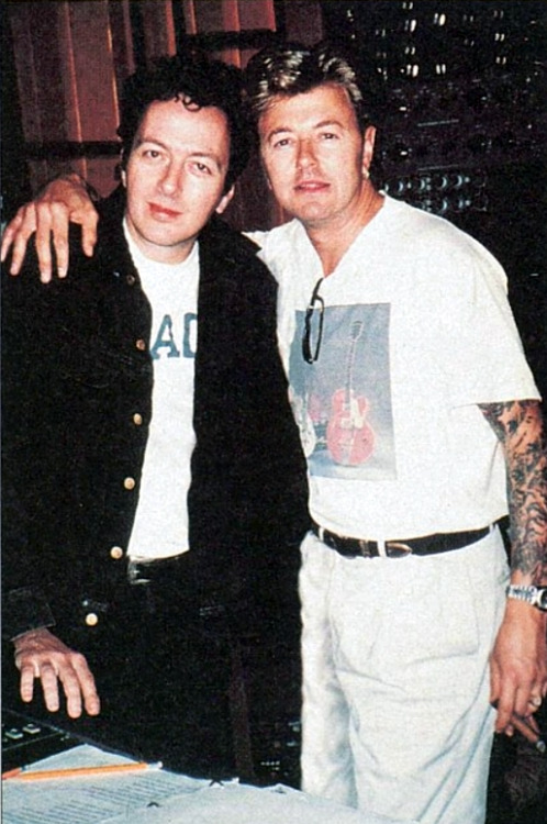 Joe Strummer and Brian Setzer, 1996.
