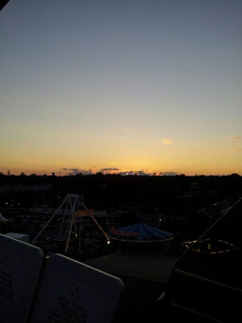 On the Ferris wheel.